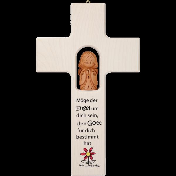 """Kinderkreuz m. Tonengel """"Möge derEngel ...""""  Ahornholz, natur, 20 x 12 cm"""