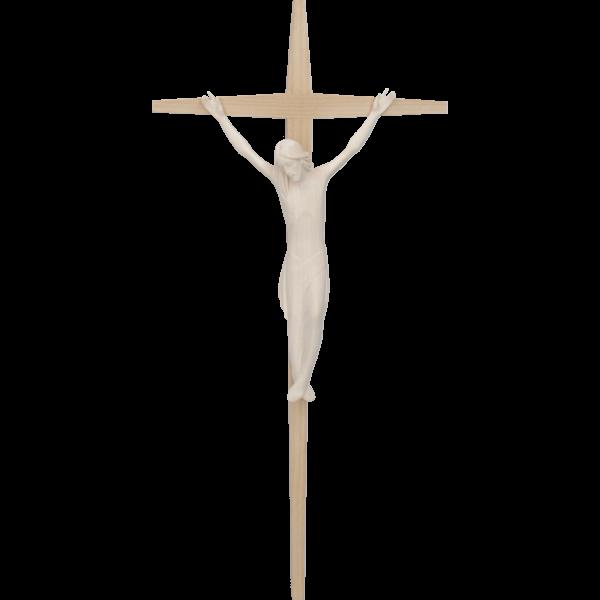 Modernes Kreuz, Ahornholz, hell 34x16 cmHolz-Korpus, geschnitzt, natur