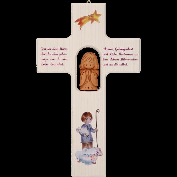 "Kinderkreuz m. Tonengel ""Gott sei deinHirte..."" Ahornholz, natur, 20 x 12 cm"