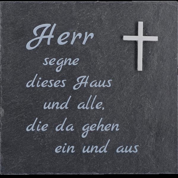 """Schiefertafel Haussegen """"Haus"""" bedrucktMit Kreuz 13x13cm"""