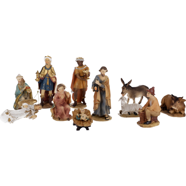 """Krippenfiguren """"Bachlechner"""", Kunstharzcoloriert, 13 cm, 11-teiliges Set im GK"""
