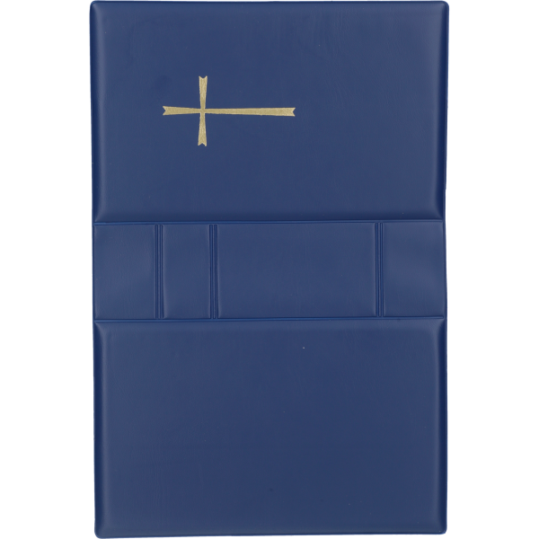 Gebetbucheinband, Kunststoff blaumit goldenem Kreuz, VE = 3 Stück