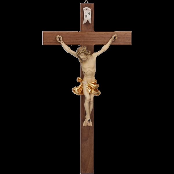 Hängekreuz, Nussbaum-Holz, braun 30 cmmit Holz-Korpus, geschnitzt, gold 14 cm