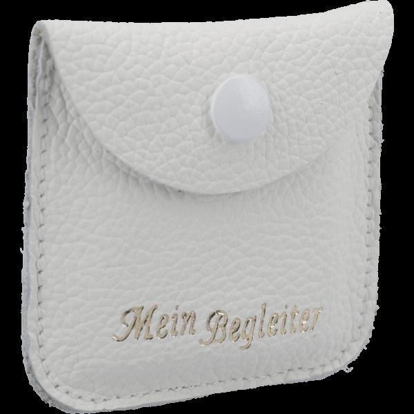 Rosenkranzetui -Begleiter-Leder, weiß, 6,5 x 6,5 cm