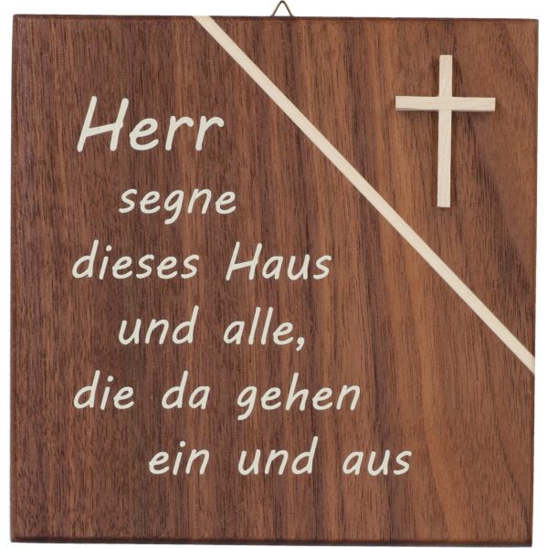 """Haussegen, Nußbaum mit Ahorn-Kreuz14x14 cm, """"Herr segne dieses Haus"""" im GK"""