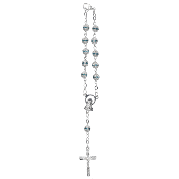Rosenkranz, zehner, geketteltFarbe türkis, Metall-Glasperle