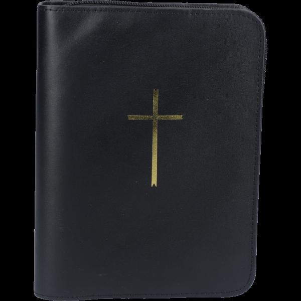 Gebetbuchhülle, Echt Leder, schwarzmit Reißverschluß, mit goldenem Kreuz