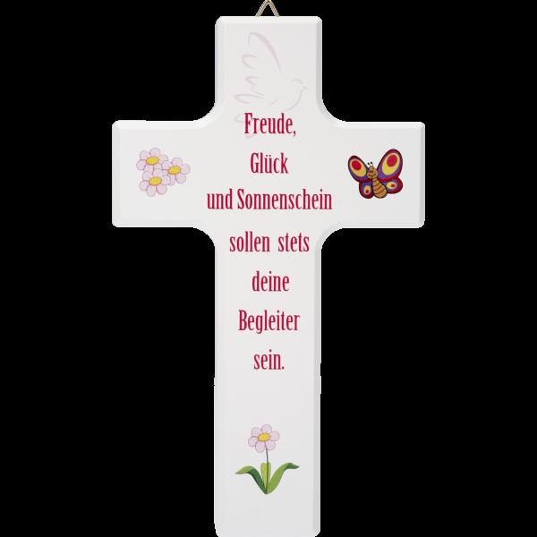 """Kinderkreuz """"Freude, Glück und ...""""Ahornholz, weiß lackiert, 15 x 9 cm"""