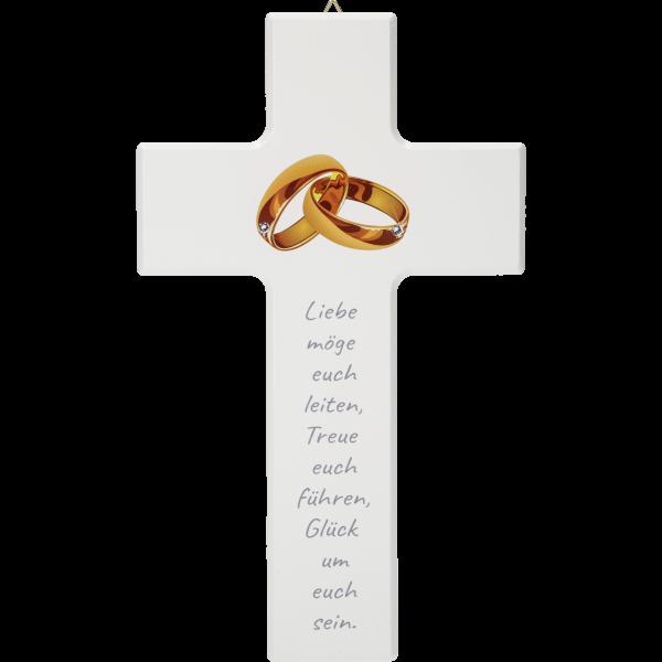 Hochzeitskreuz, Liebe möge euch...20x12cm, weiß