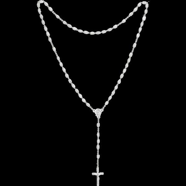 Rosenkranz gekettelt gelötet AlpaccaEcht Perlmutt, weiß oval, 4mm, 36cm