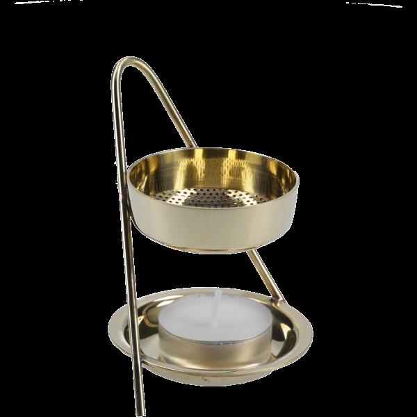 Weihrauchbrenner mit TeelichtMessing, 13 cm, im Karton