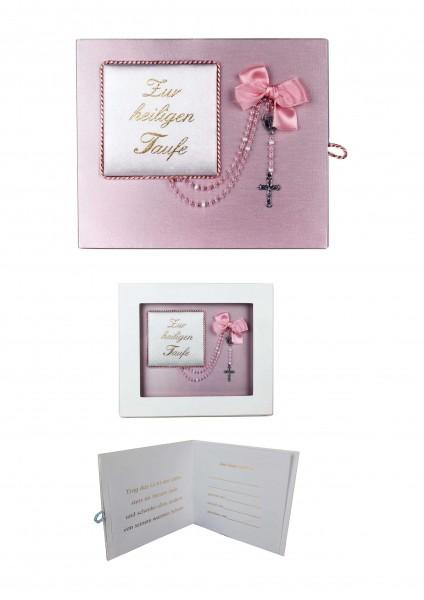 Taufbrief rosa mit Rosenkranz