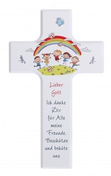"""Kinderkreuz 15x9cm mit Tonengel""""Gott schenkt.."""" Schrift rot"""
