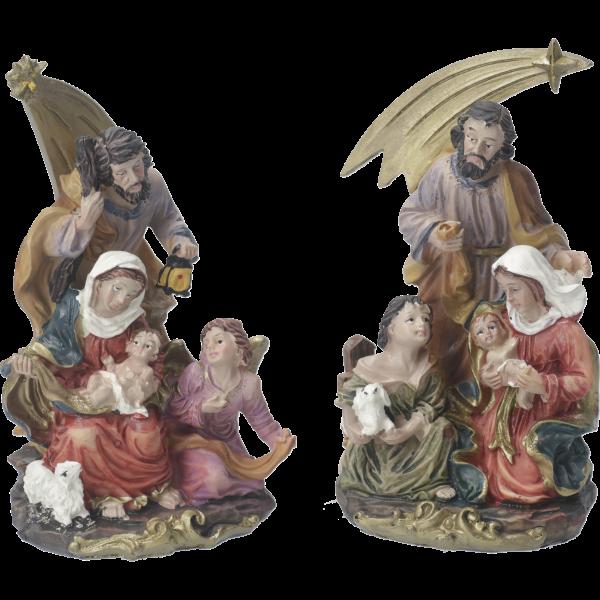 Kompaktkrippe Heilige Familie mit KometKunstharz coloriert, 15 cm, VE 2 Stück