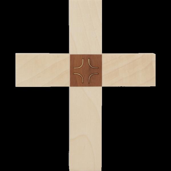 """Hängekreuz, Ahornholz, 16x13x1,8 cmmit Einlage Nussbaumholz """"Kreuz"""""""