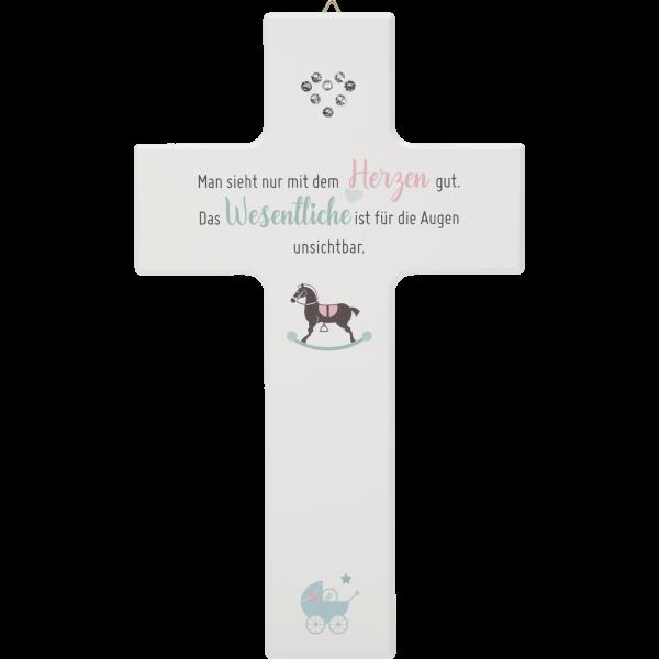 """Kinderkreuz 20x12, Ahornholz WeißMotiv:Herz Kristallsteine """"Man sieht..."""""""