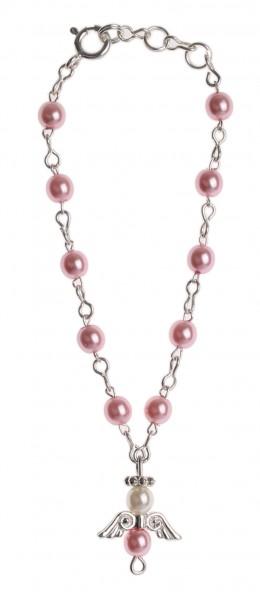 Armband, Wachsperle rosa, Schutzengel