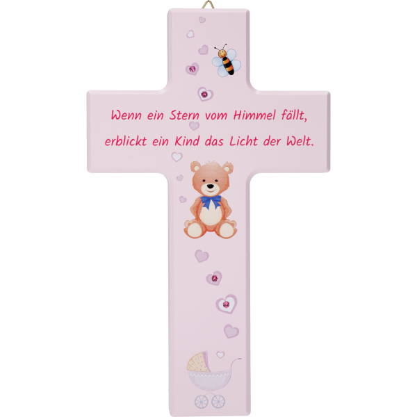 Kinderkreuz, Ahornholz, Wenn ein Stern..20x12cm, rosa, m. Swarovski