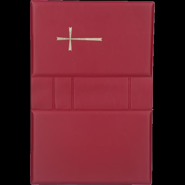 Gebetbucheinband, Kunststoff rotmit goldenem Kreuz, VE = 3 Stück