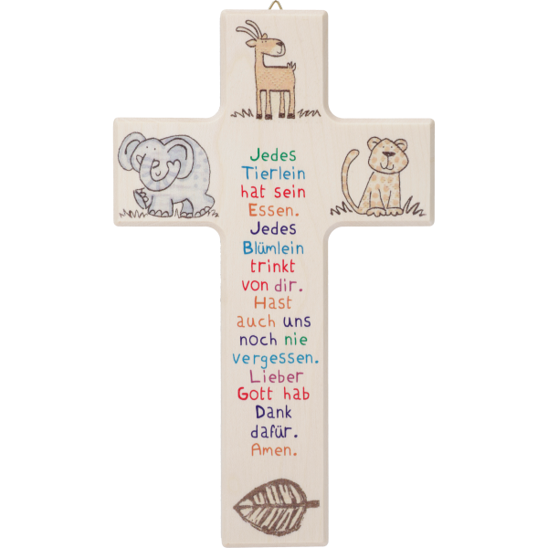 """Kinderkreuz """"Jedes Tierlein hatsein ..."""" Ahornholz, natur, 20 x 12 cm"""
