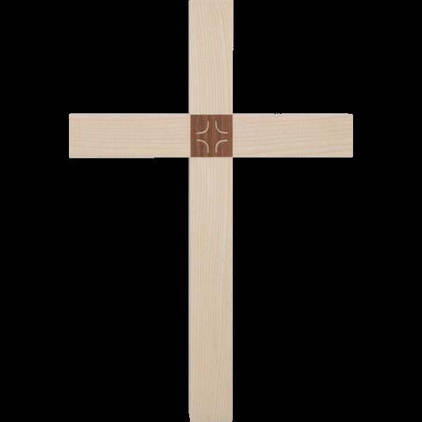 """Hängekreuz, Ahornholz, 30 x 18 cmmit Einlage Nussbaumholz """"Kreuz"""""""