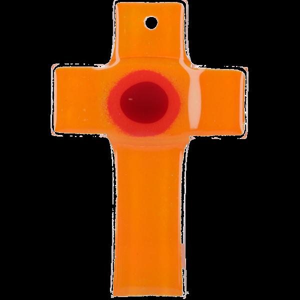 Hängekreuz, Glaskreuz, orange mit Ring