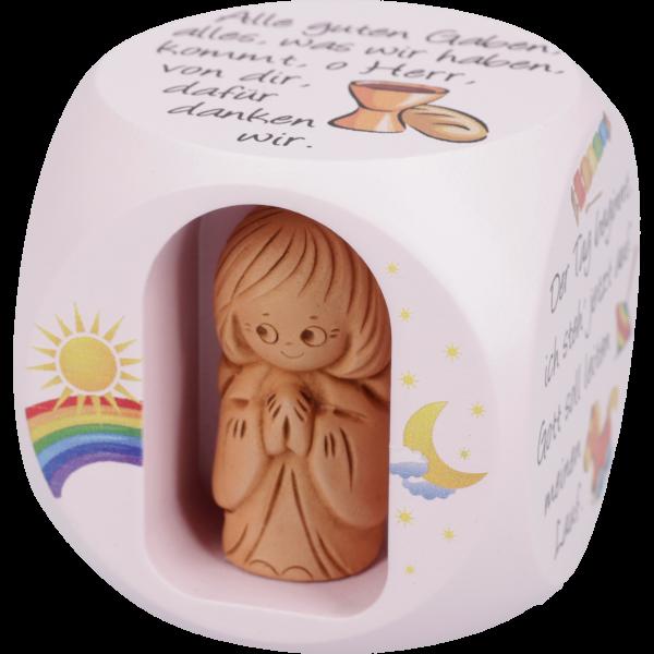 Gebetswürfel Kindergebete mit Tonengelrosa lackiert, bunt bedruckt, 49x49 mm