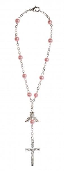 Zehnerrosenkranz Wachsperle rosa mit Engel-Herzzeichen