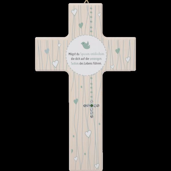 "Kinderkreuz 20x12cm,Ahornholz naturMotiv:Kreuz Kristallsteine""Mögest du..."""