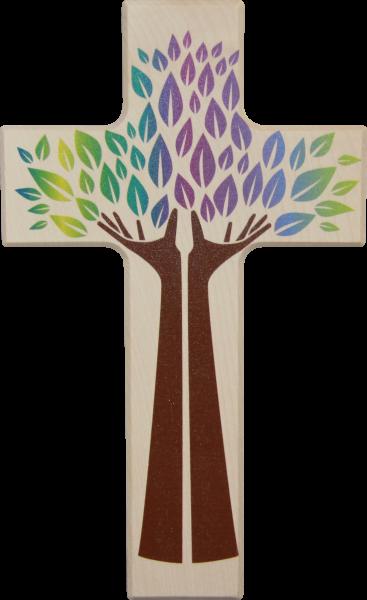 "Holzkreuz ""Hand des Lebens"" 20x12 cm"
