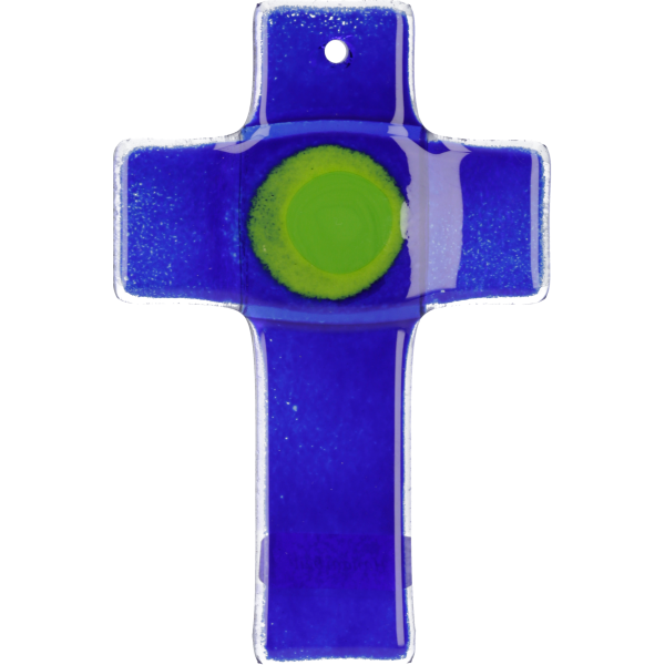 Hängekreuz, Glaskreuz, blau mit Ring