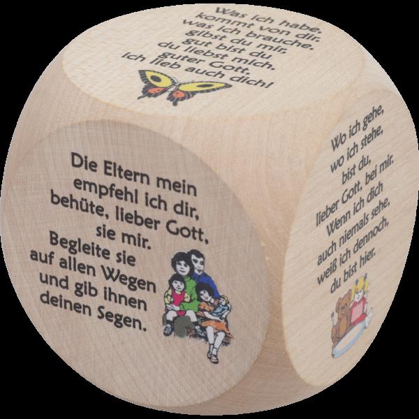 Gebetswürfel KindergebeteAhornholz natur, bunt bedruckt, 6x6 cm