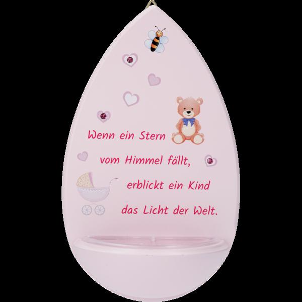 Kinderweihkessel, Wenn ein Stern...15cm, rosa, m. Swarovski Steinen