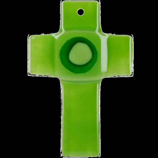 Hängekreuz, Glaskreuz, grün mit Ring