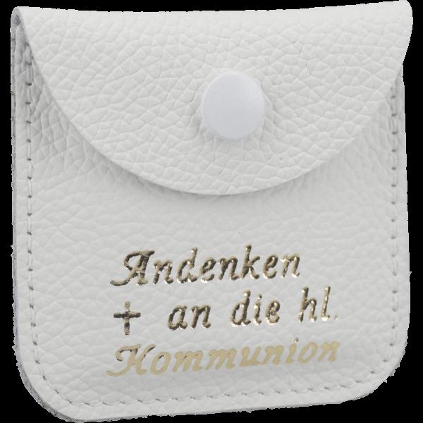 Rosenkranzetui -Kommunion-Leder, weiß, 6,5 x 6,5 cm