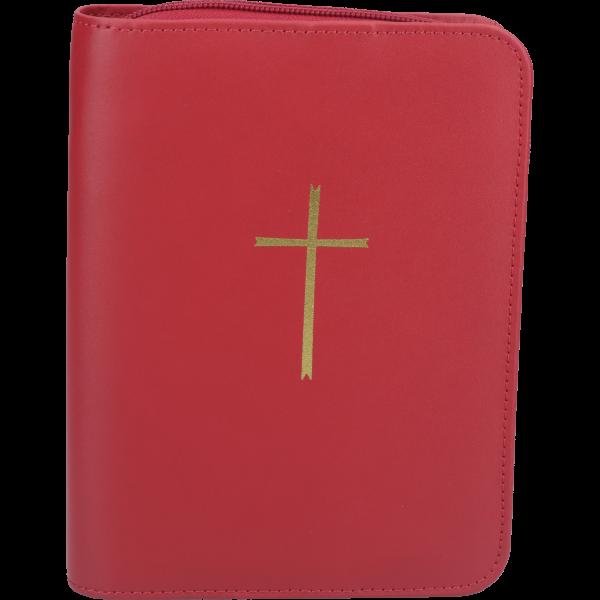 Gebetbuchhülle, Echt Leder, rotmit Reißverschluß, mit goldenem Kreuz