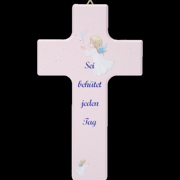 """Kinderkreuz """"Sei behütet ...""""Ahornholz, rosa lackiert, 15 x 9 cm"""