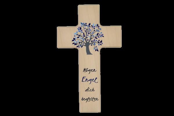 "Kinderkreuz ""Mögen Engel.."" natur/blau"