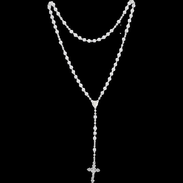 Rosenkranz geketteltGlasperle, weiß, 4mm, 35cm