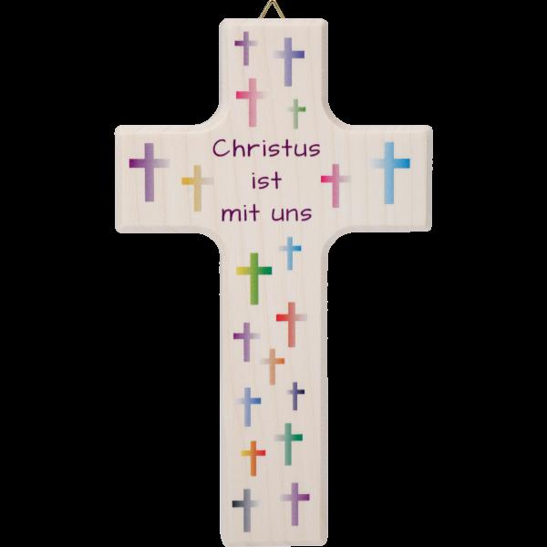 Kinderkreuz, Ahornholz, 15cmMotiv Kreuze bunt