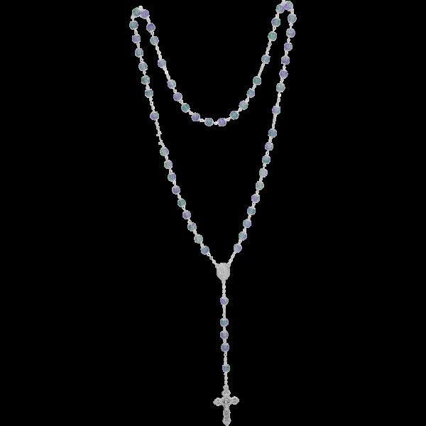 Rosenkranz gekettelt, Glasperle blau7mm Perle, Muranoart, Länge 55cm