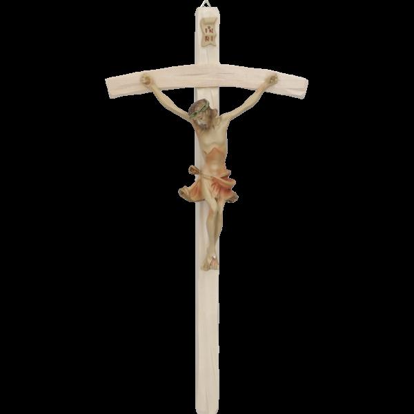 Hängekreuz, Lindenholz, natur 25 cmmit Kunstharz-Korpus rot 11 cm