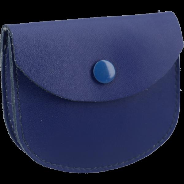 Lederetui mit Steg, Farbe BlauOhne Prägung, m. Druckknopf, 8x7cm