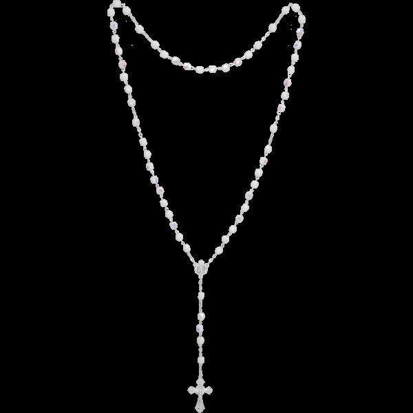 Rosenkranz gekettelt gelötet AlpaccaGlasschliffperle, weiß, 5mm, 39cm