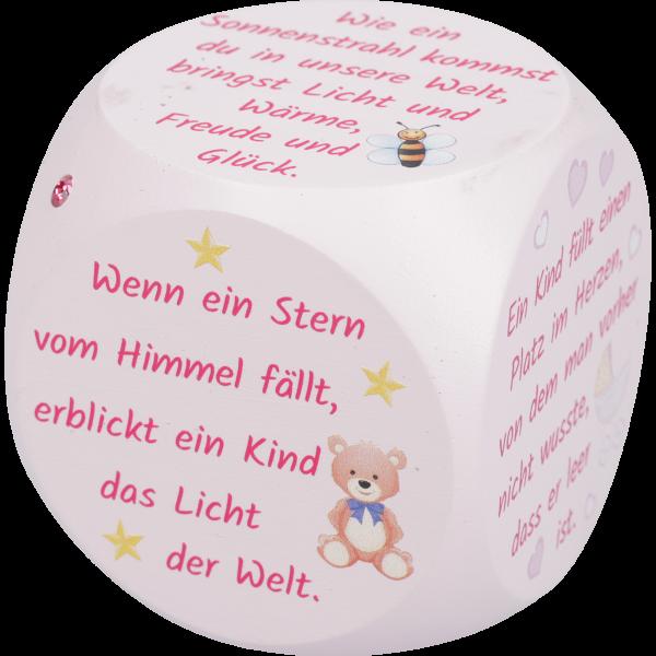Gebetswürfel, Taufe, Kinder, 49mmSwarovski Stein, rosa lackiert