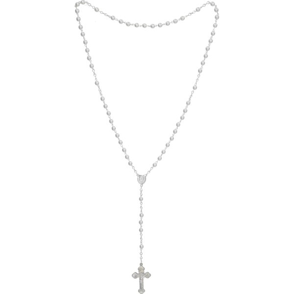 Rosenkranz gekettelt AnkerketteWachsperle, weiß, 5mm, 40cm