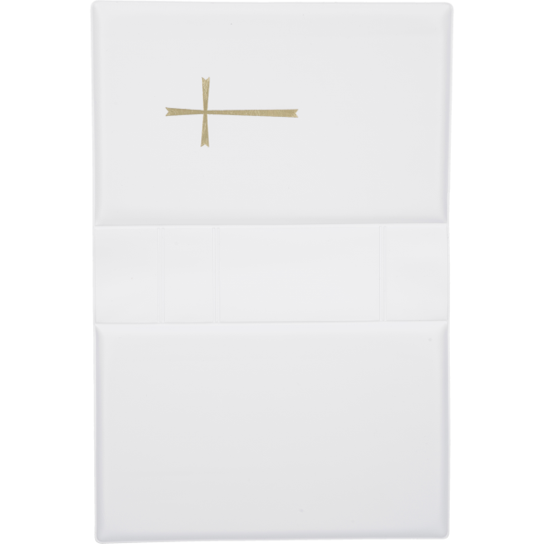 Gebetbucheinband, Kunststoff weißmit goldenem Kreuz, VE = 3 Stück