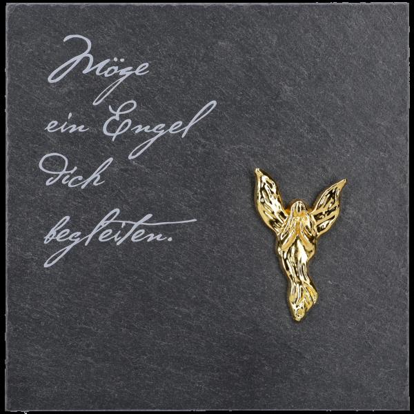 """Schiefertafel, 13x13 cm, Angelo-Engelgold, bedruckt """"Möge ein Engel."""",  im GK"""