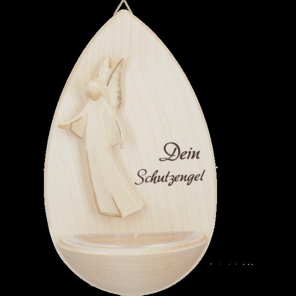 """Weihkessel Ahorn m. HolzengelTropfenform, ca. 15cm, """"Dein Schutzengel"""