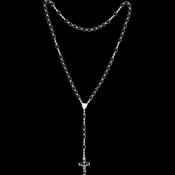 Rosenkranz gekettelt AnkerketteHolzperle, schwarz oval, 5mm, 45cm